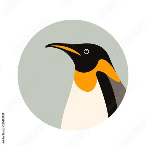 Canvas Print penguin  profile side vector illustration flat style