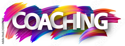 Tableau sur Toile Coaching card with colorful brush strokes.