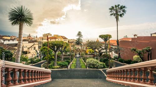 Canvas Print View on gardens in La Orotava in Tenerife, Spain.