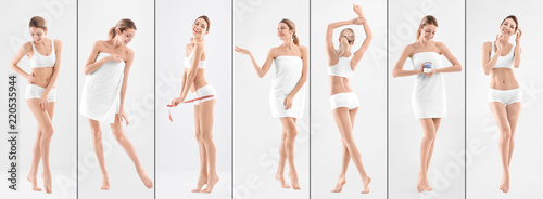 Foto Set with young woman on light background. Beauty and body care