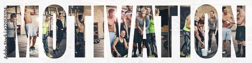 Kolaż uśmiechnięci młodzi ludzie ćwiczy wpólnie przy gym