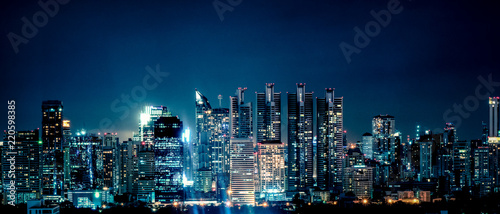 Foto panoramic landscape scenery of buildings and skycrapers in the central business