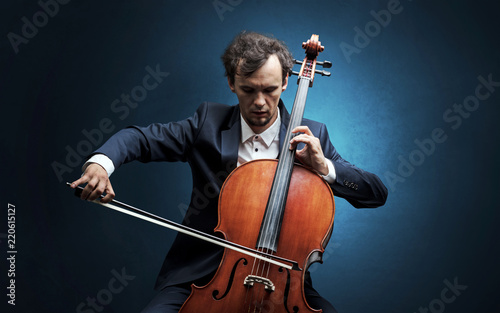 Canvas Lonely cellist composing on cello with nothing around