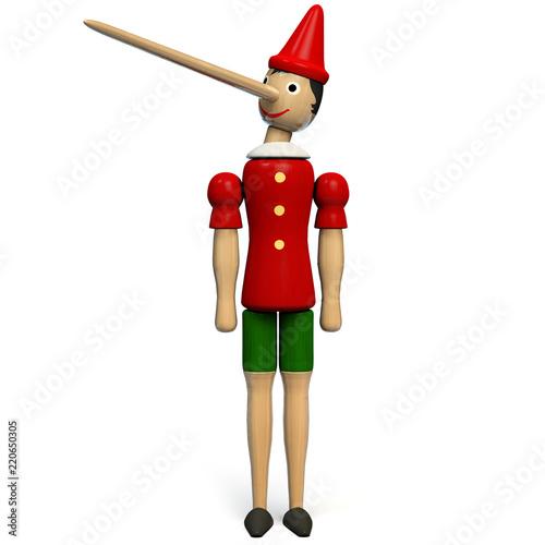 Pinocchio Toy Doll Isolated on White Fototapeta