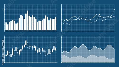 Fotografia Bar graph and line graph templates, business infographics, vector illustration