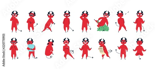Photographie Collection of funny red-skined devil in different postures isolated on white background