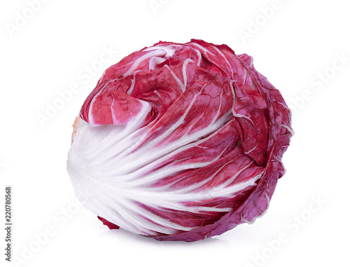 whole red radicchio or red salad isolated on white background