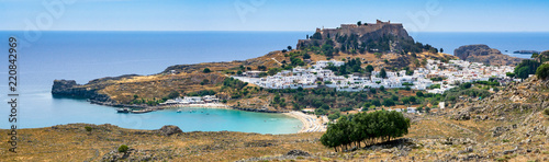 Canvas Print Panoramic view of Lindos, Rhodes Island, Greece