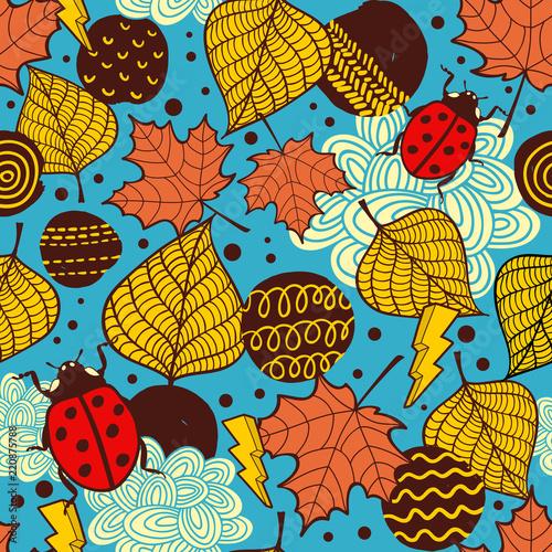 Fototapeta premium Niekończące się tło z kolorowych liści jesienią. Grafika wektorowa.