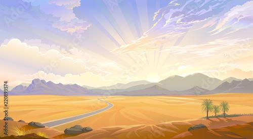 Fotografie, Obraz The desert view over the hill