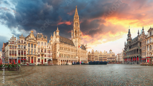 Brussels - panorama of Grand place at sunrise, Belgium