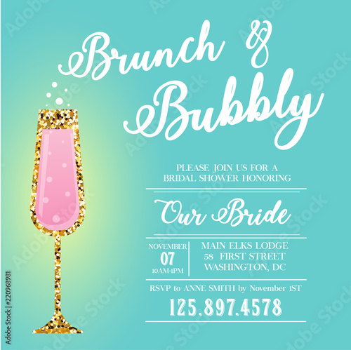 Fotografia Brunch and Bubbly invitation. Bridal shower.