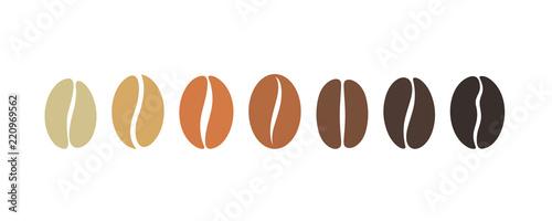 Obraz na płótnie Coffee bean set. Isolated coffe beans on white background