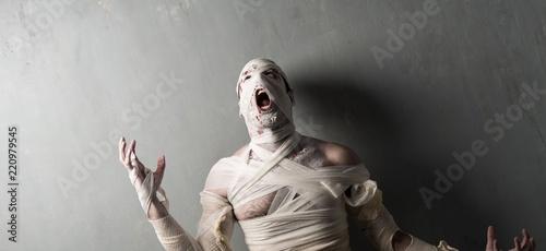 Photographie Terrorific mummy screaming on textured wall background