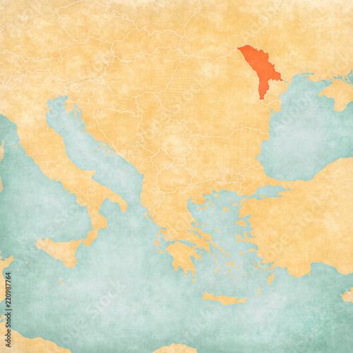 Canvas Print Map of Balkans - Moldova