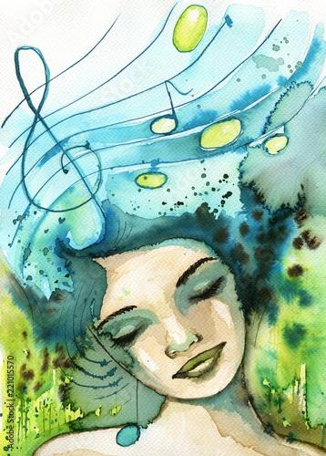 Watercolor illustration depicting a fancy woman's portrait.