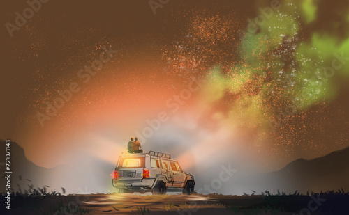 couple sitting on SUV car against milky way and star field, digital illustration art painting design style.