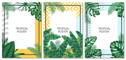 Summer tropical vector set design for cards, poster or flyer with exotic palm leaves