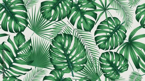 Modny tropikalny wzór z dżungli egzotycznych liści i roślin