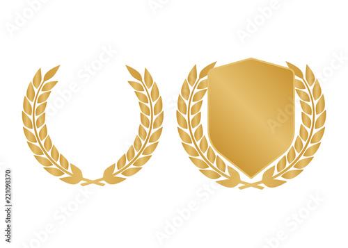 Obraz na płótnie Golden shields laurel badges collection