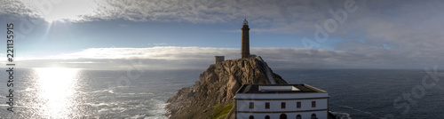 cape vilan with one of the oldest lighthouses on the coast of death (costa de morte) in galicia, spain