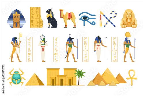 Fotografie, Obraz Egypt set, Egyptian ancient symbols of the power of pharaohs and gods colorful v