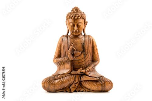 Leinwand Poster Wooden buddha statue