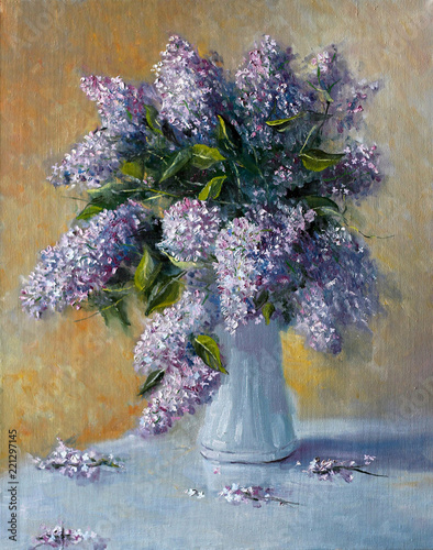 Bouquet of lilac flowers. Painting. Painting with oil paints