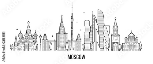 Photo Moscow skyline, Russia vector city buildings line