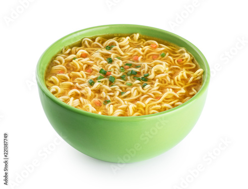 Quick chicken noodle Soup. Bowl of instant noodles isolated on white background.