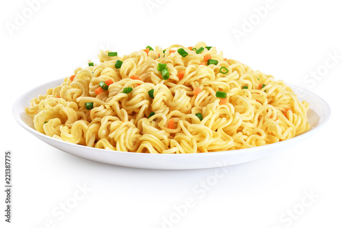 Plate of instant noodles isolated on white background.