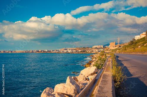 Scenic sea coast and road near Tripoli, Lebanon