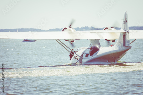 Canvas Print Flight Boat Consolidated PBY Catalina at Air Show Mazury 2018 event at the lake Niegocin in Gizycko