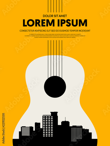 Photo Music festival poster design template modern vintage retro style