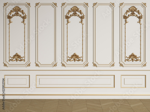 Obraz na plátně Classic interior wall with mouldings