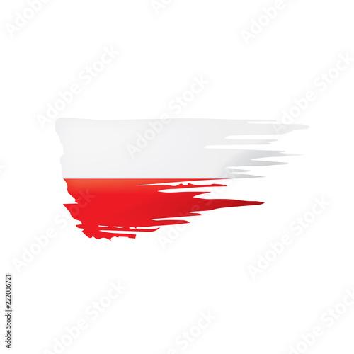 Wallpaper Mural Poland flag, vector illustration on a white background