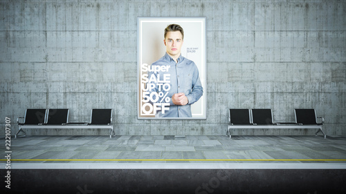 advertising fashion billboard mockup on underground station