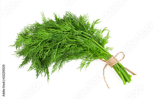 Canvas Print Bouquet of fresh dill bandaged with rope