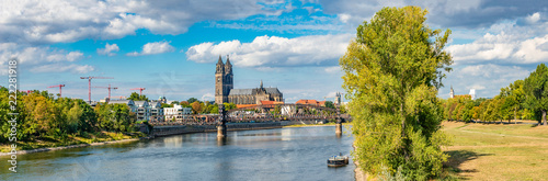 Panoramic view of Elbe, old and new town, bridge in Magdeburg, Germany