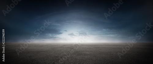Foto Asphalt Beton Strasse mit Wolken Himmel Horizont Panorama