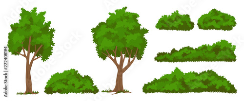 Slika na platnu Vector trees and bushes set