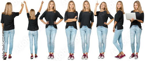 Canvas Print Collage of young woman. Isolated on white background