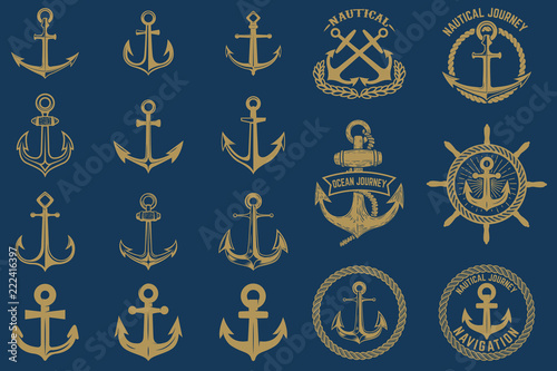 Murais de parede Set of nautical emblems and design elements in vintage style