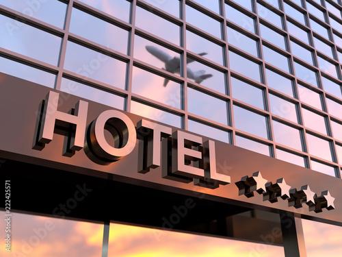 shiny hotel sign with stars