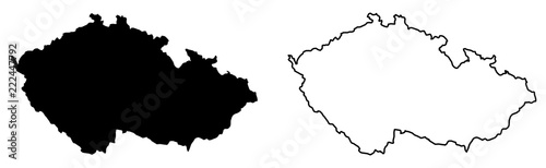Fotografie, Obraz Simple (only sharp corners) map of Czechia (Czech Republic) vector drawing