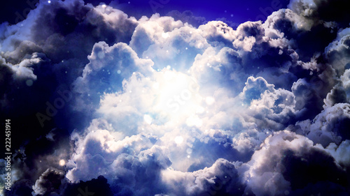 Canvas-taulu Worship and Prayer based cinematic clouds and light rays background useful for divine, spiritual, fantasy concepts