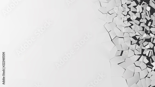 Fotografia vector illustration of breaking wall with free area for text