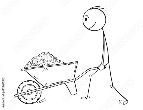 Cartoon stick drawing conceptual illustration of man pushing wheelbarrow with sand,soil,mud,mulch,compost, dirt or earth Fototapeta