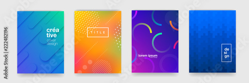 Tablou Canvas Abstract trendy gradient flowing geometric pattern background texture for poster cover design