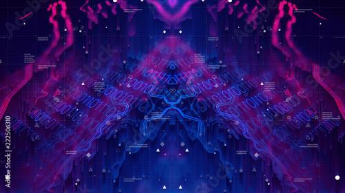 Obraz na płótnie Glitched Holographic Digital Technology Background